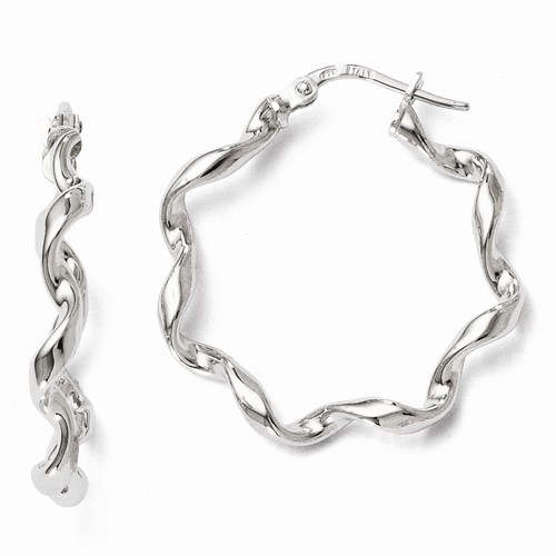 Silver Earrings - Sterling Silver Twisted Hoop Earrings