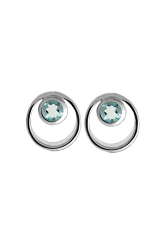 Silver Earrings - Sterling Silver Button Earrings With 2= Round Blue Topazs
