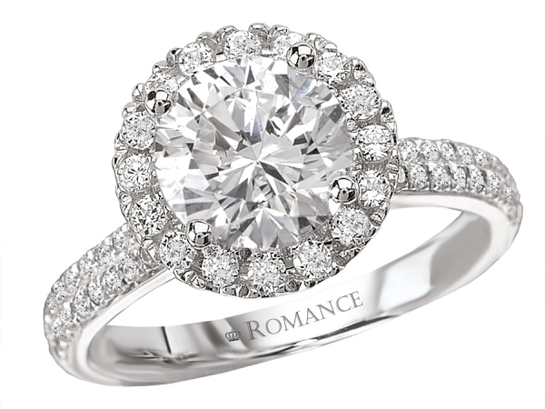 Engagement Rings - Martini Diamond Ring with a Round Halo