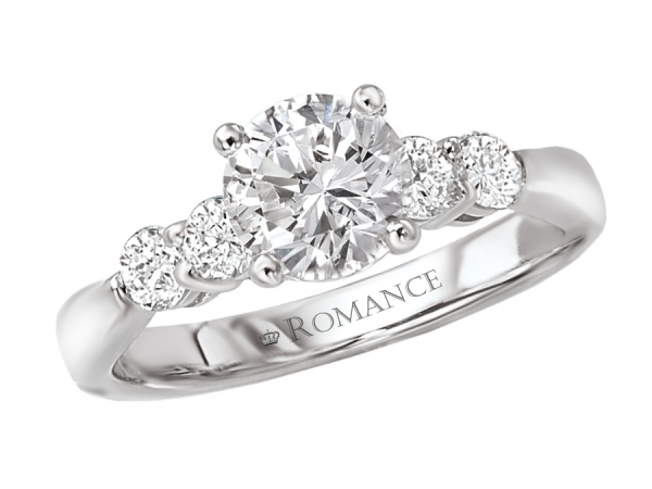 Engagement Rings - Round Diamond Ring in 18kt White Gold