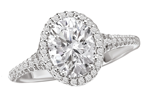 Engagement Rings - Diamond Ring in 18kt White Gold with an Oval Style Hal