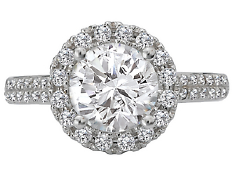 Engagement Rings - Martini Diamond Ring with a Round Halo - image 2