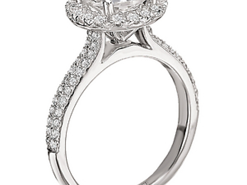 Engagement Rings - Martini Diamond Ring with a Round Halo - image #4