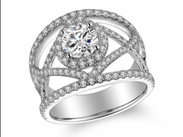Engagement Rings - 14k White Gold Wide Lace Band