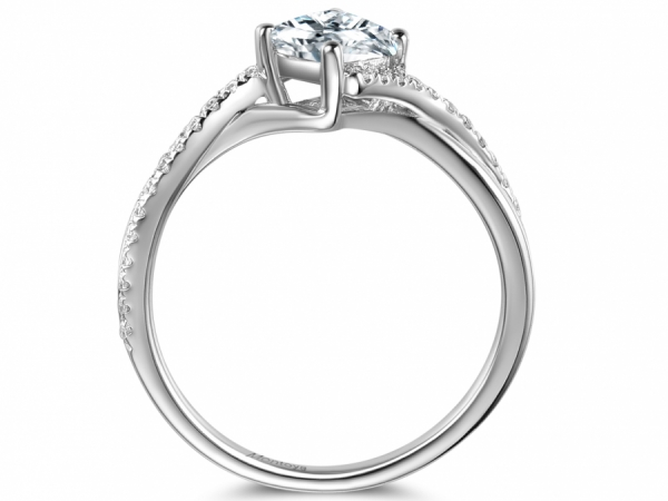 Engagement Rings - 14k White Gold Princess Cut Twisted Bands - image #2