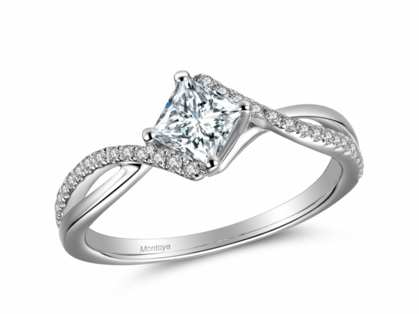 Engagement Rings - 14k White Gold Princess Cut Twisted Bands