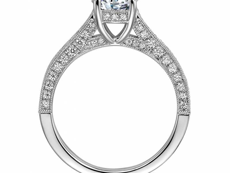 Engagement Rings - 14K White Gold Pave Solitaire Ring - image #2