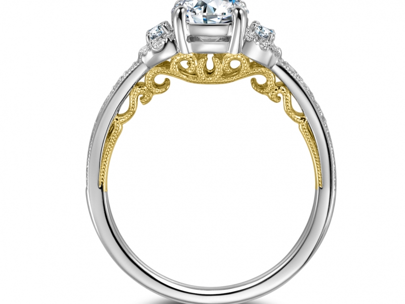 Engagement Rings - 14K White Gold Engagement Ring w/ 2 side stones and Yellow Gold lace - image #2