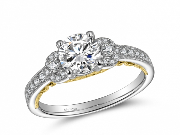 Engagement Rings - 14K White Gold Engagement Ring w/ 2 side stones and Yellow Gold lace