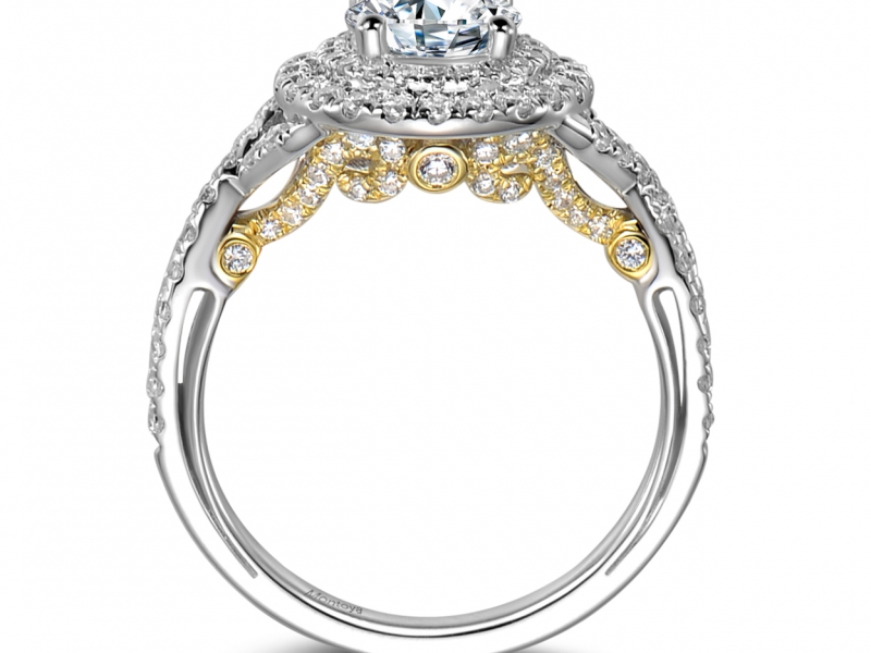 Engagement Rings - 14k Two Tone Diamond Lace Double Halo - image #2
