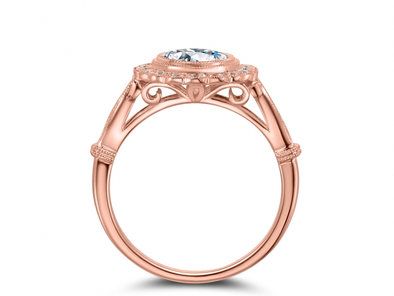 Engagement Rings - 14k Rose Gold Scalloped Engraved - image #2