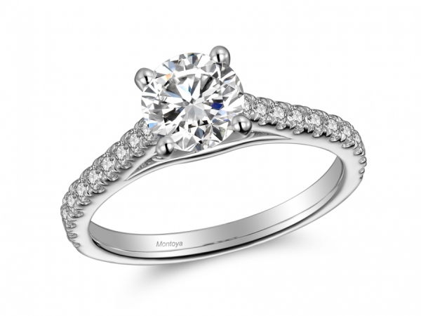 Engagement Rings - 14k White Gold Diamond Band Classic