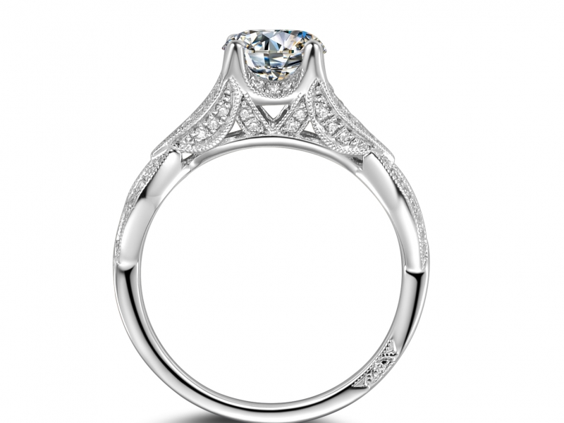 Engagement Rings - 14k White Gold Twisted Diamond Ring - image #2