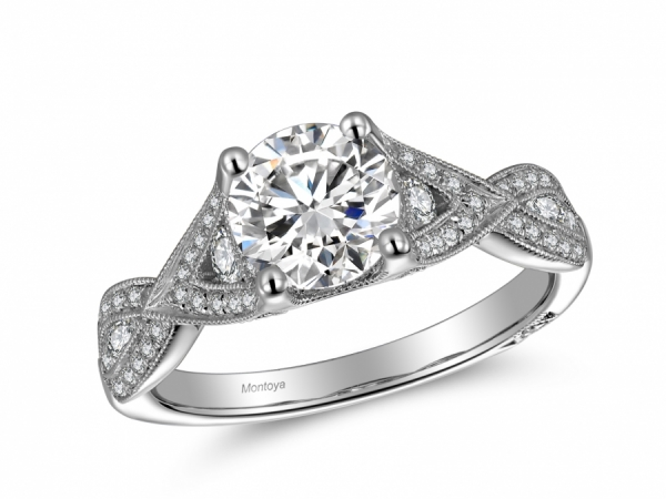 Engagement Rings - 14k White Gold Twisted Diamond Ring