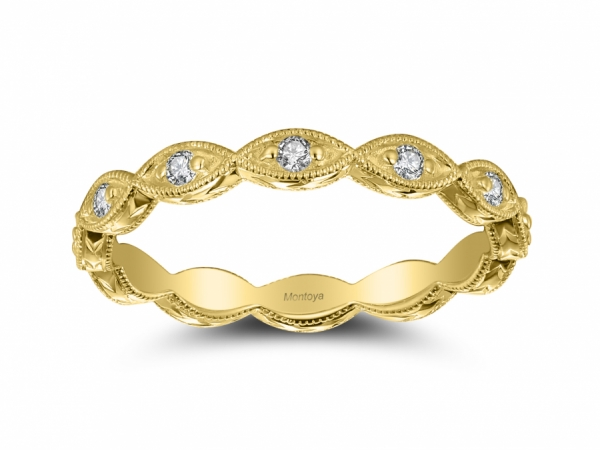 Diamond Bands - 14k Yellow Gold Scalloped Stackable Eternity Band
