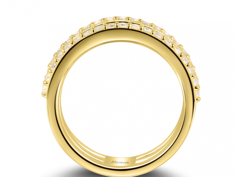 Diamond Fashion - 14k Yellow Gold 3 Band Ring With Diamonds - image #2