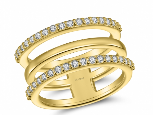 Diamond Fashion - 14k Yellow Gold 3 Band Ring With Diamonds