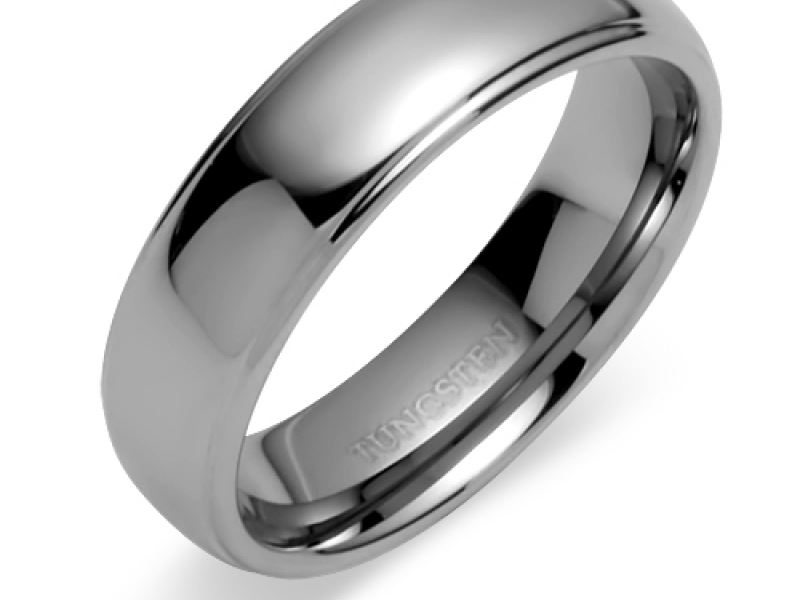 Men's Rings - Double Grooved Round Top Tungsten Carbide Ring