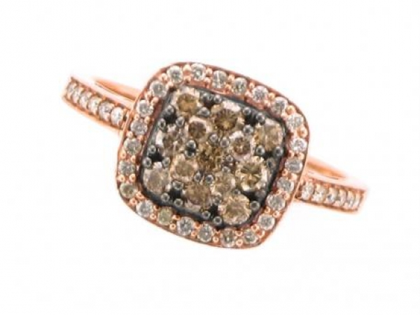 Diamond Fashion, Wedding and Engagement Rings - 14K rose gold ring with .61 carat total weight of Cocoa and white diamonds