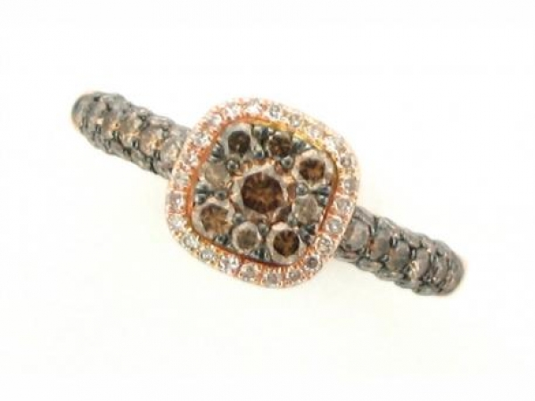 Diamond Fashion, Wedding and Engagement Rings - 14K rose gold ring set with white and brown diamonds weighing .92 carat total weight