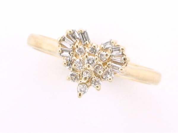 Diamond Fashion, Wedding and Engagement Rings - 14kt yellow gold heart cluster ring set with baguette and round brilliant cut diamonds weighing .44 carat total weight