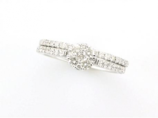 Diamond Fashion, Wedding and Engagement Rings - 14kt white gold wedding set set with .63 carat total weight of diamonds