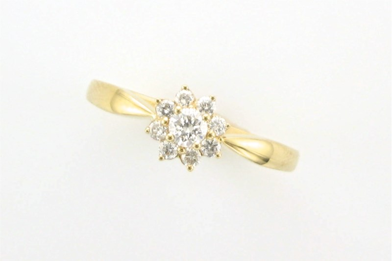 Diamond Fashion, Wedding and Engagement Rings - 14kt yellow gold ring set with .30 carat total weight of round brilliant cut diamonds.