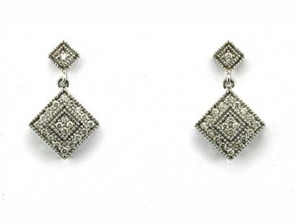 Earrings - 14K white gold dangle earrings with .40 carat total weight of round brilliant cut diamonds.