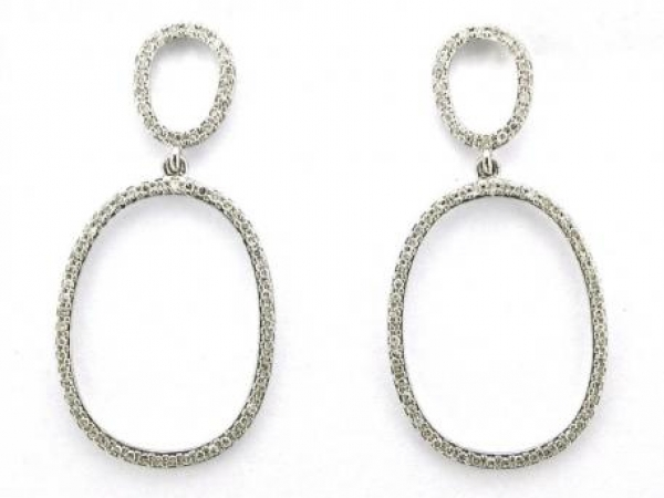 Earrings - 14K white gold earrings with 148 round diamonds weiging .46 carat total weight