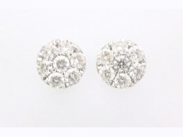 Earrings - 18kt white gold cluster stud earrings set with 1.06 carat total weight of round brilliant cut diamonds with G-H color and SI3 clarity.