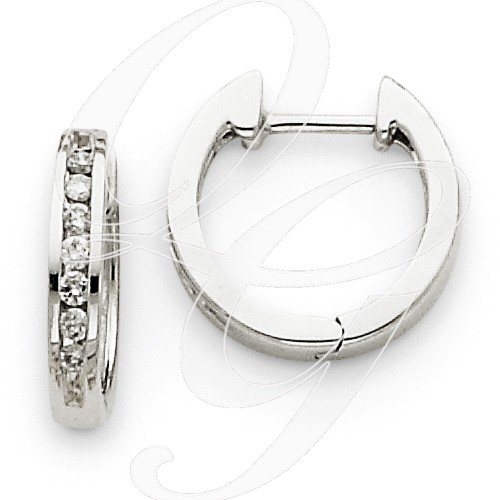 Earrings - 14kt White Gold hinged hoop earrings set with .18 carat total weight of round brilliant cut diamonds