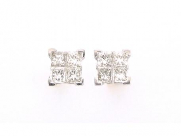 Earrings - 14kt white gold 1/2 carat total weight princess cut diamond studs with G-H color and VS2 clarity