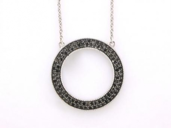 Pendant - Sterling silver black diamond circle pendant set with 96 diamonds weighing .50 carat total weight
