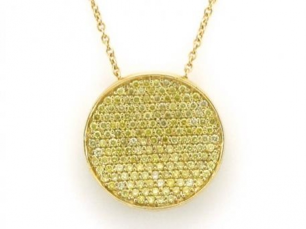 Pendant - 18kt yellow gold circle pendant set with fancy yellow diamonds weighing .80 carat total weight