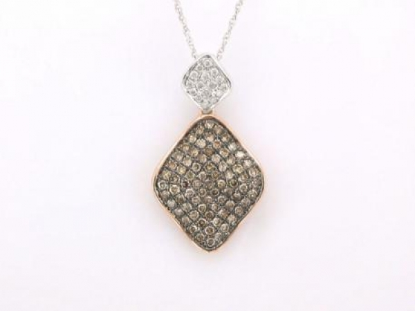 Pendant - 14kt white/rose gold pendant set with 1/2 carat total weight of white and brown diamonds.