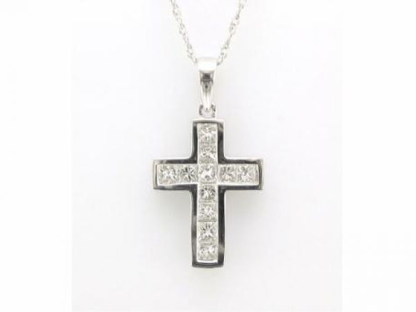 Pendant - 14kt white gold cross set with .75 carat total weight of princess cut diamonds with G-H color and VS2 clarity