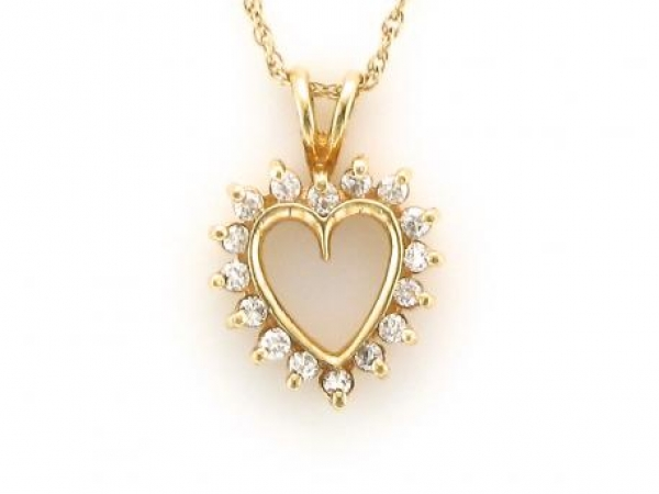 Pendant - 14kt yellow gold heart pendant set with 1/4 carat total weight of diamonds