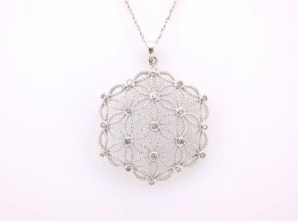 Pendant - 14kt white gold pendant set with .21 carat total weight of diamonds.