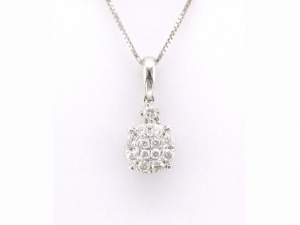 Pendant - 18kt white gold pendant set with diamonds weighing .24 carat total weight with G-H color and SI3 clarity.