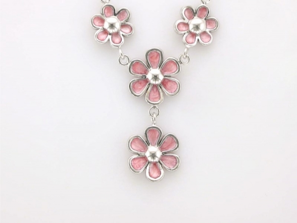Necklace - 14K white gold flower enamel necklace