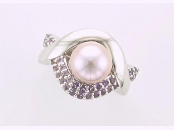 Ring - Natural lavender freshwater pearl and amethyst ring set in sterling silver