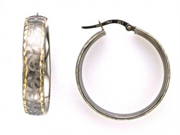 Earrings - 14K white and yellow gold florentine finish hoop earrings