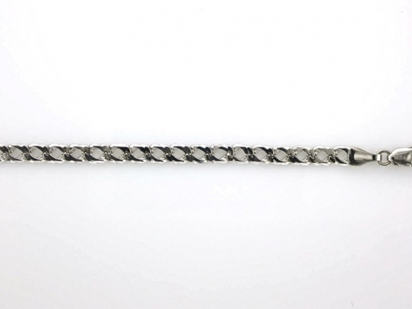 Bracelet - 8 inch 14K white gold fancy link bracelet