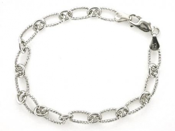 Chain - Sterling silver fancy link charm bracelet
