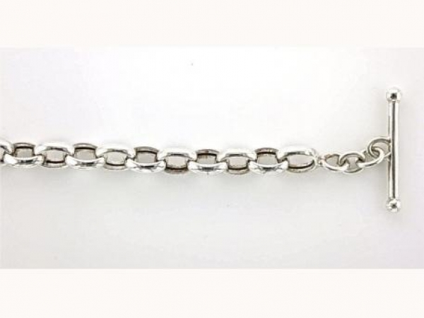 Chain - Sterling silver oval link necklace with toggle clasp