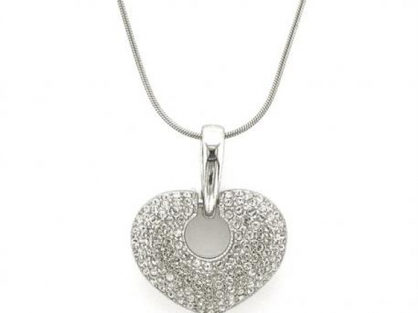 Sterling Silver Pendants - Sterling silver heart necklace with C-Zs