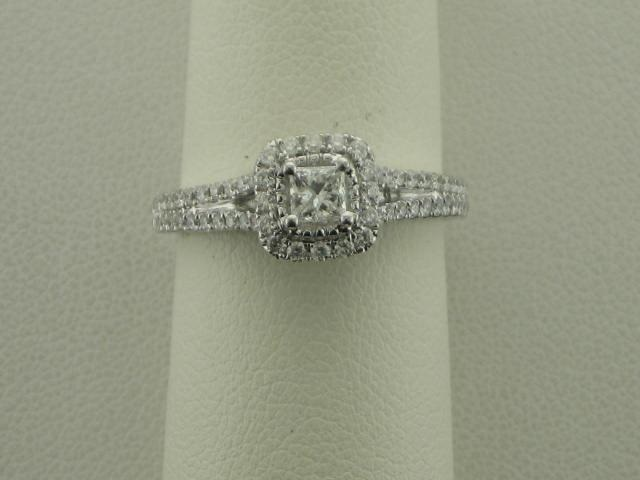 Engagement Ring - 14KT WG .23CT PR SI2 clarity G color with 60= .48CT TW rd dia SI1 clarity G color                 This ring was set with our center stone, do not return to vendor!
