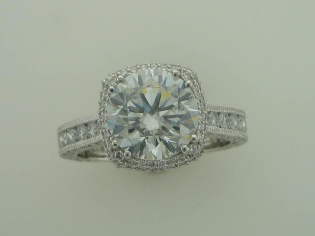 Engagement Ring - Platinum 1.21 CTW Diamond Semi Mount 3/4 Way for 8 mm Head SN296383