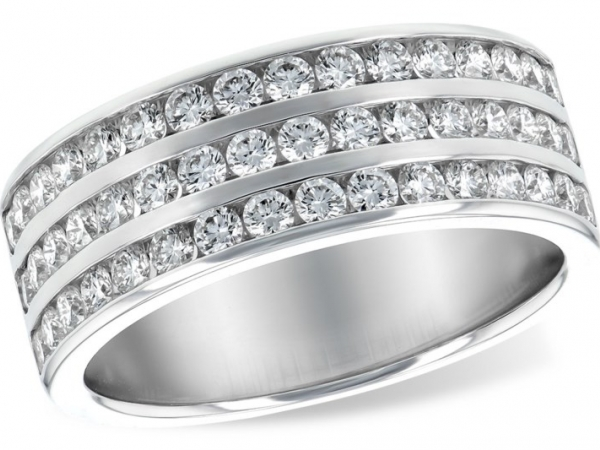 Wedding Band - 14KT WG Ladies Diamond 48 Round 1.0 CTW  H VS2/SI1 Channel Set Wedding Ring