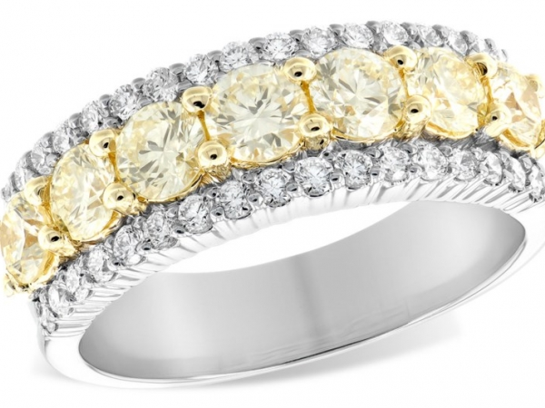 Anniversary Ring - 14Kt White Gold With 18 KT Yellow Gold Ring 7 Rd=1.20 CT TW In Yellow Diamonds 34 Rd White Diamonds =.44 CTW